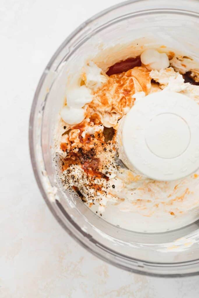 mixing pimento cheese in food processor