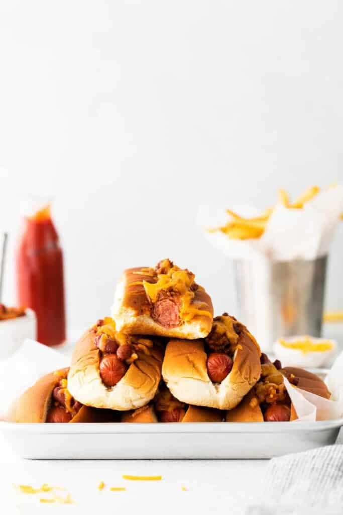stack of chili cheese dogs