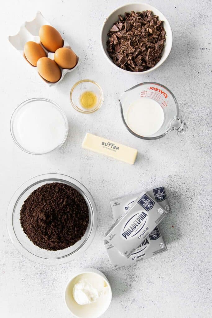 cheesecake ingredients on countertop