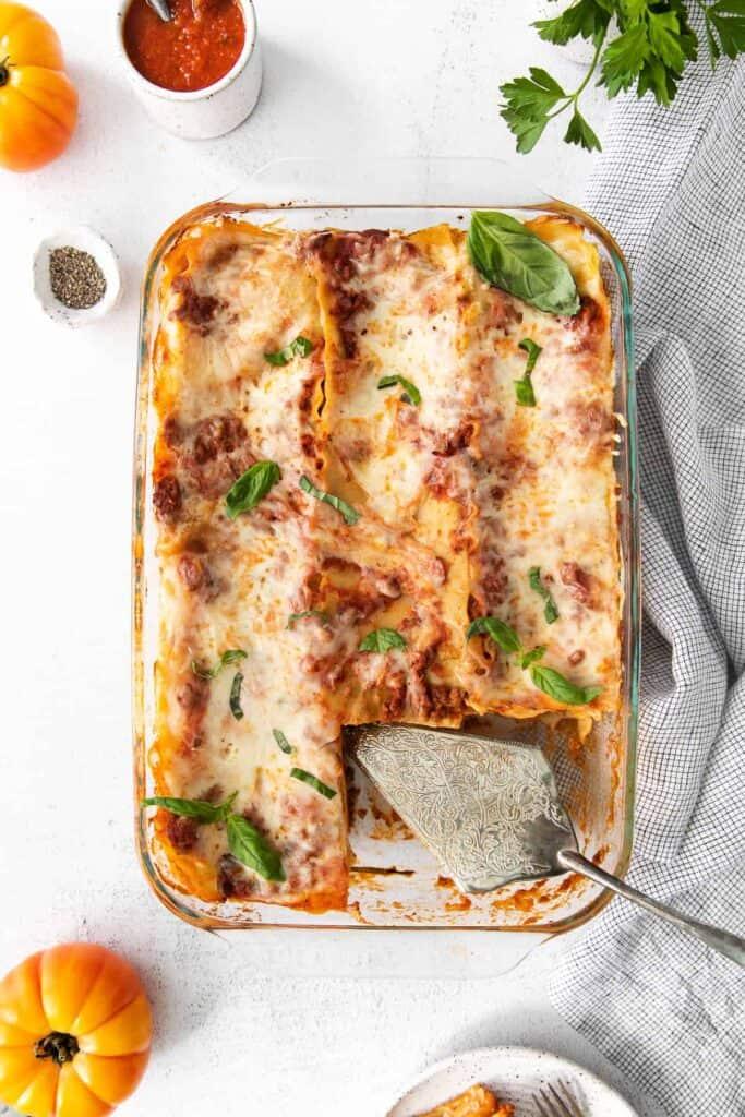 Meat lasagna in a baking dish.