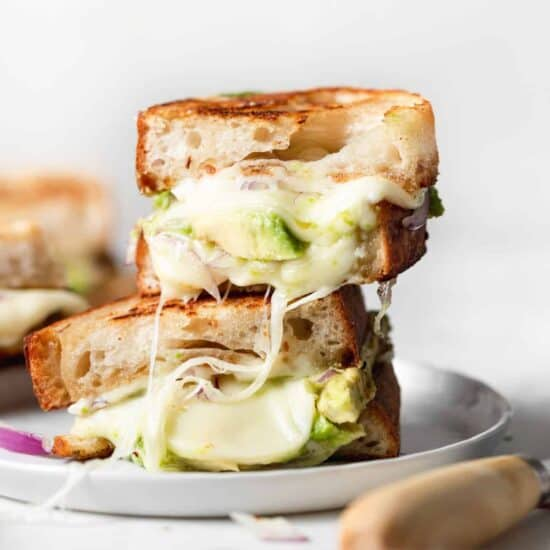 avocado grilled cheese stacked