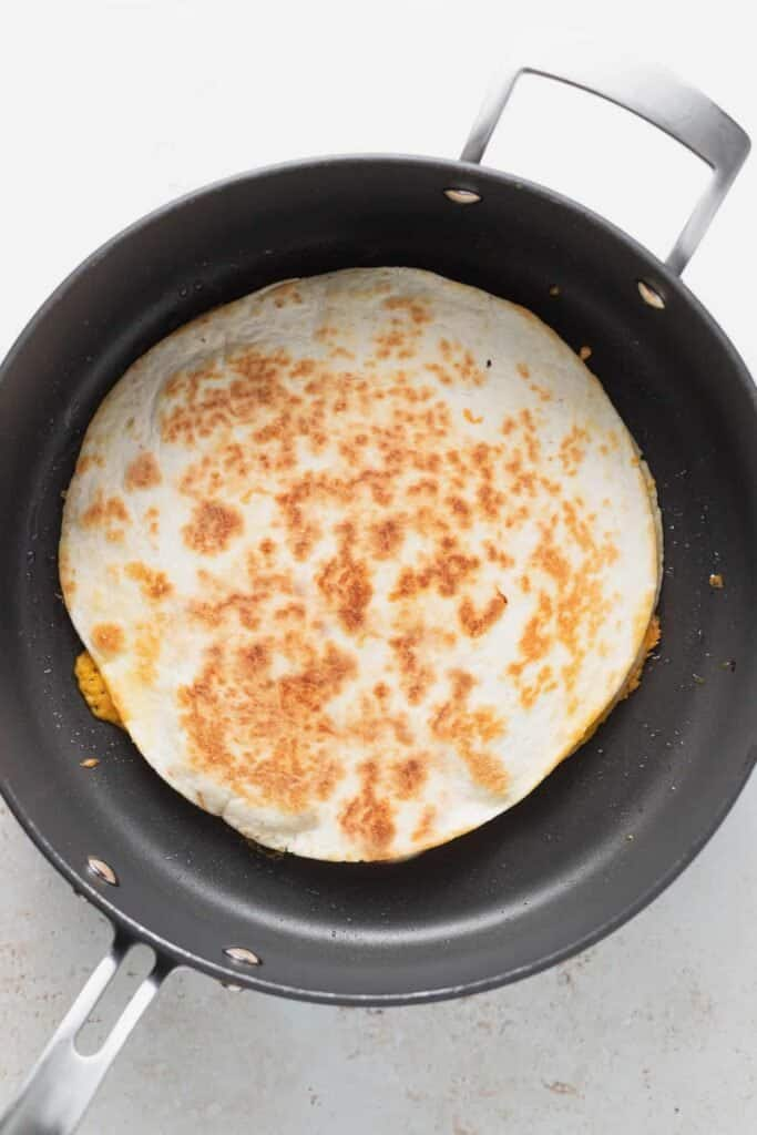 quesadilla in frying pan