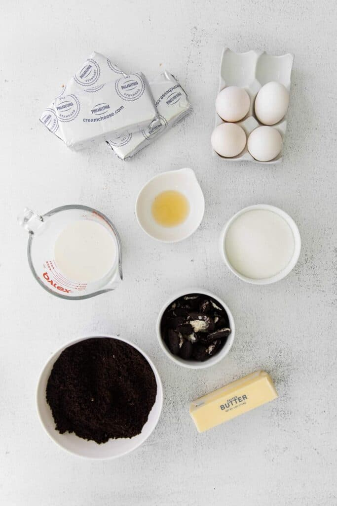 oreo cheesecake ingredients ready to be mixed together