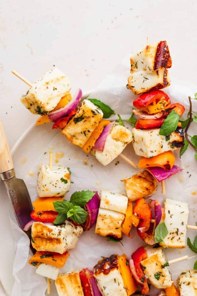 grilled halloumi skewers on a plate