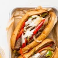 2 philly cheesesteak sandwiches