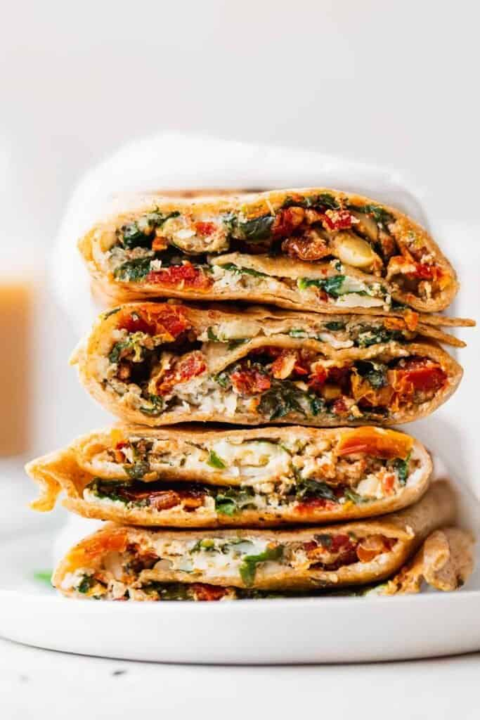 Stacked spinach feta wraps.