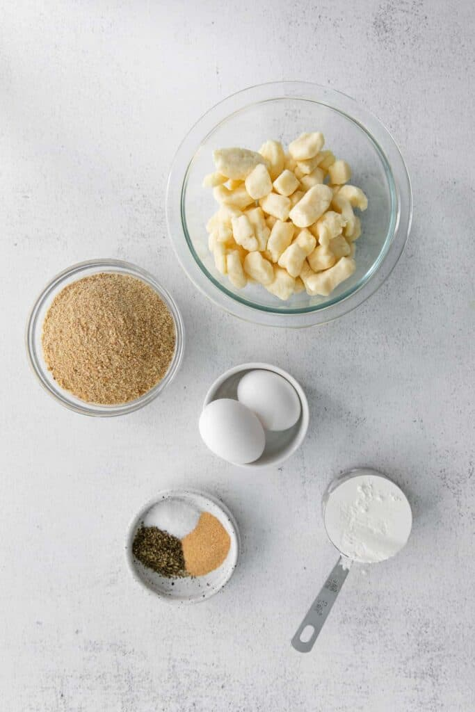 air fryer cheese curds ingredients in bowls ready to be mixed together