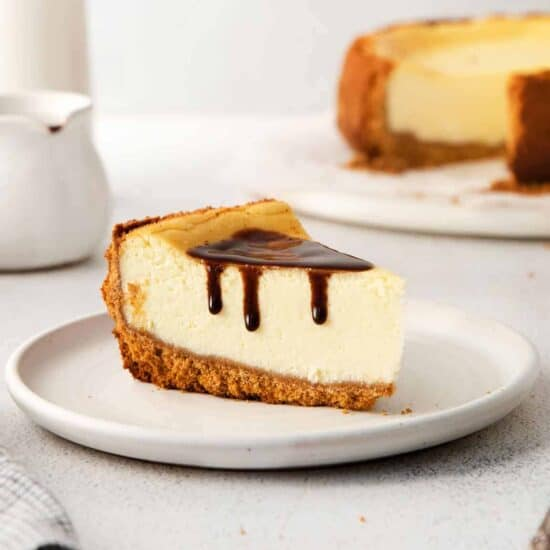 Cheesecake with a chocolate drizzle