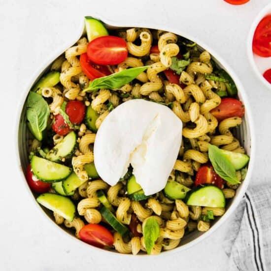 pesto pasta salad with burrata