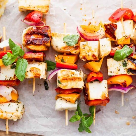 grilled halloumi on skewers