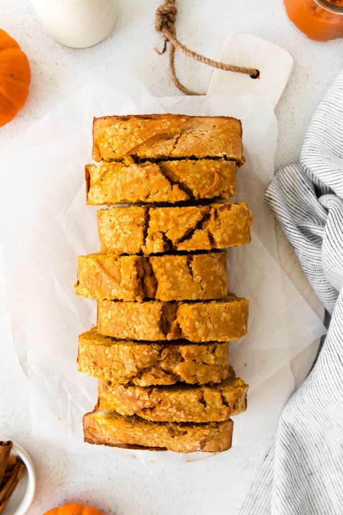 pumpkin cream cheese bread cut into slices