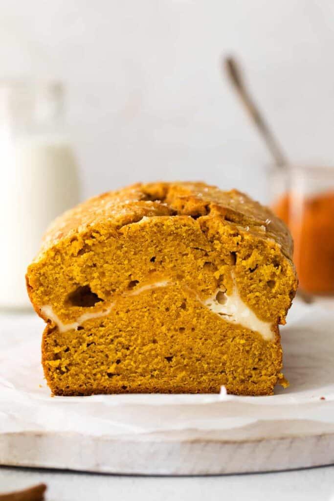 slice of pumpkin cream cheese bread
