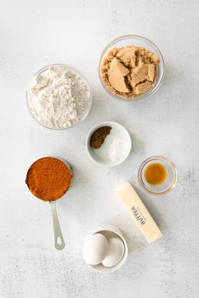pumpkin cream cheese bread ingredients in small bowls