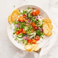 cottage cheese salad in a bowl